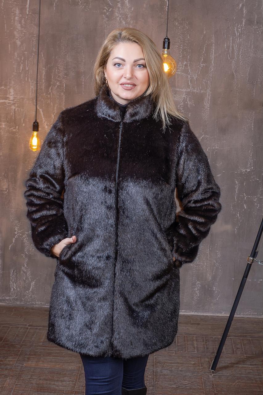 Жіноча темно-коричнева шуба штучна у великих розмірах без капюшона 392102