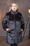 Жіноча темно-коричнева шуба штучна у великих розмірах без капюшона 392102, фото 2