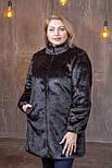 Женская темно-коричневая шуба искусственная в больших размерах без капюшона 392102, фото 3