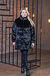 Черная женская шуба в больших размерах из искусственного меха с воротником - стойкой 392103, фото 2