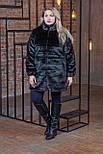 Черная женская шуба в больших размерах из искусственного меха с воротником - стойкой 392103, фото 3
