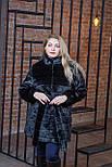 Черная женская шуба в больших размерах из искусственного меха с воротником - стойкой 392103, фото 4