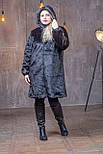 Женская искусственная шуба 100 см длиной в больших размерах 392105, фото 4