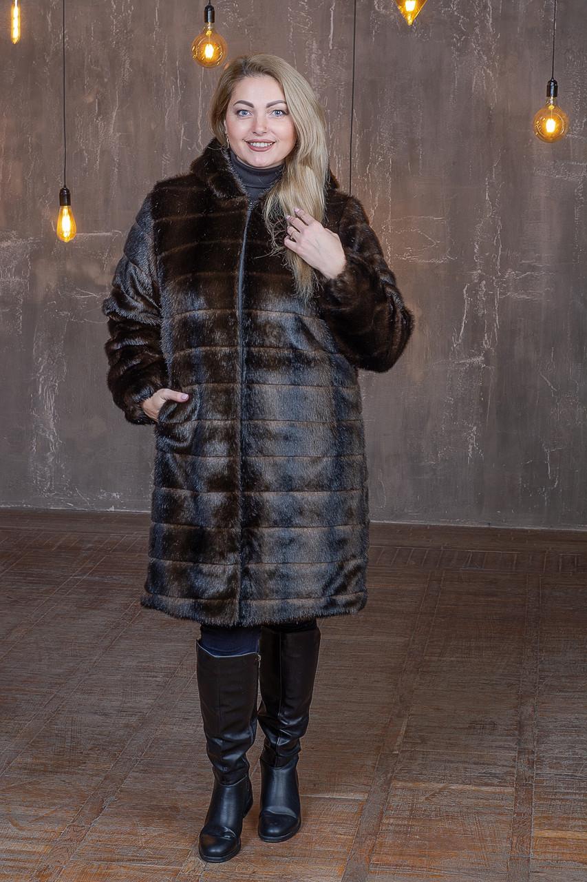 Женская шуба из искусственного меха с капюшоном и длиной метр (р. 42-56) 392107