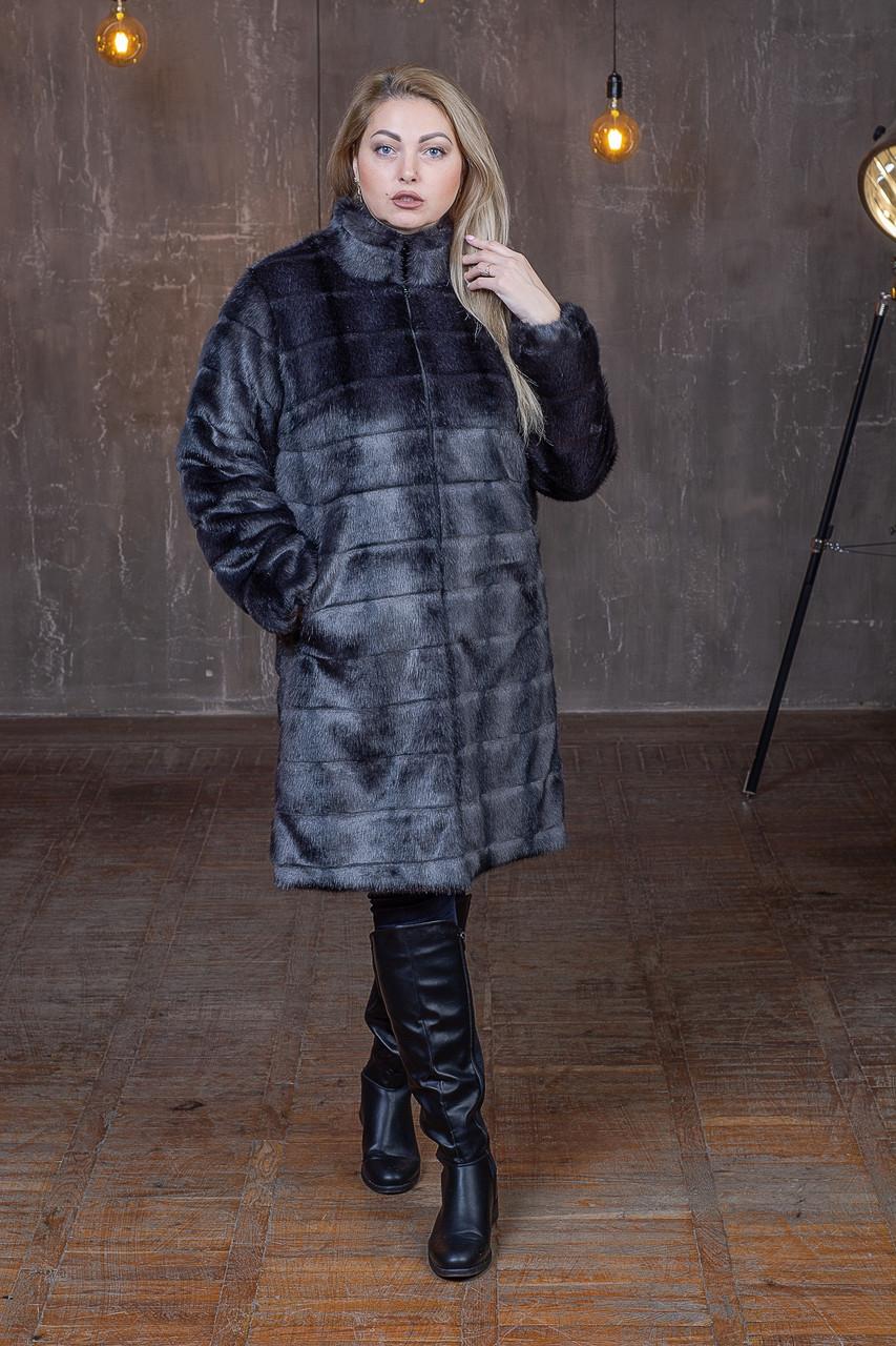 Женская шуба из экомеха в больших размерах с воротником - стойкой 392108
