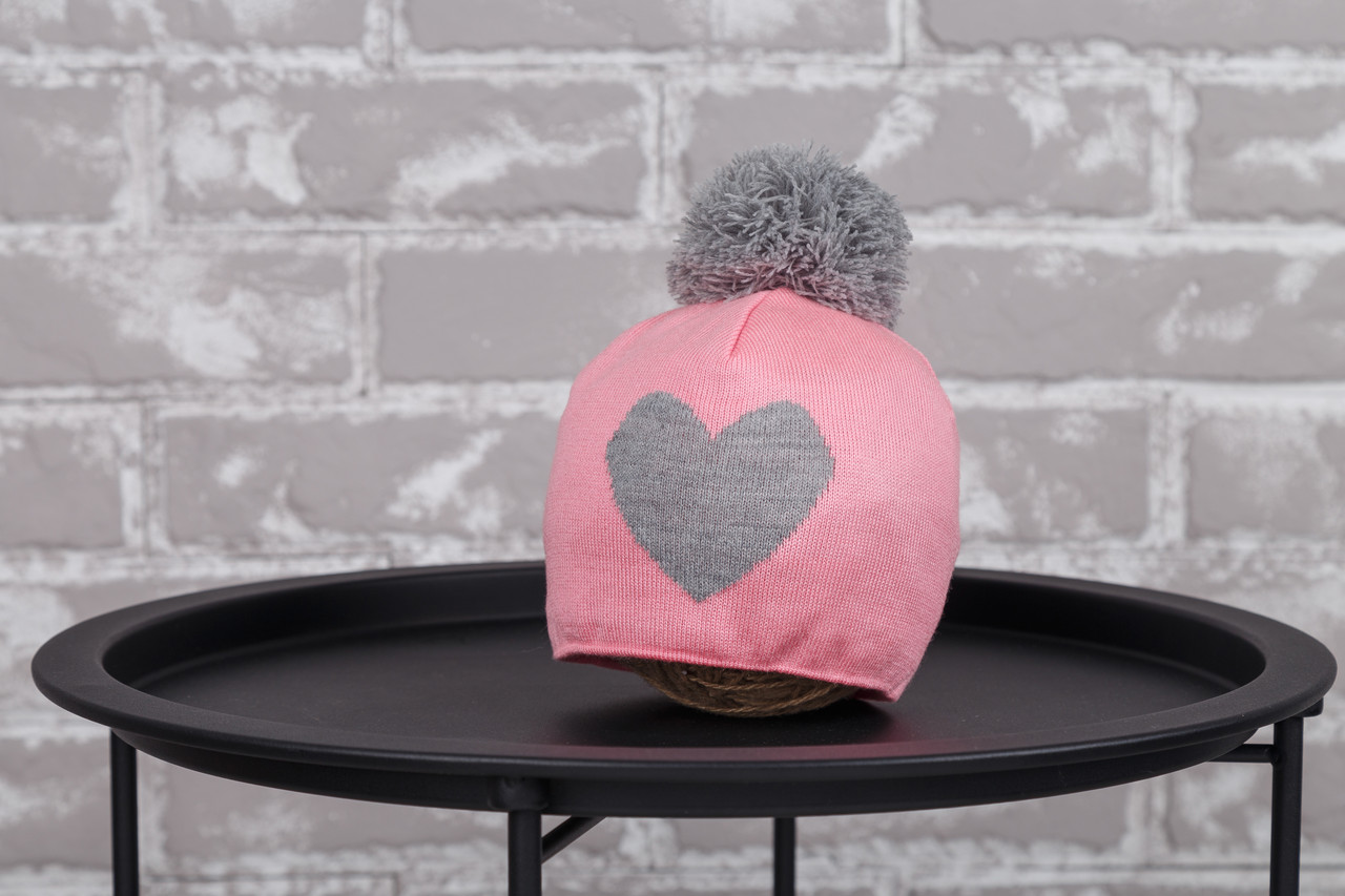 "Шапка ""`Heart"", розово-серая"