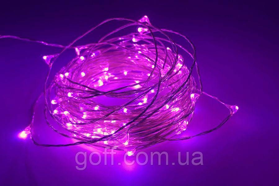 Гирлянда капля росы 5 метров с батарейками розовый цвет