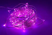 Гирлянда капля росы 5 метров с батарейками розовый цвет, фото 1