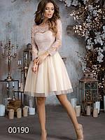 Гипюровое платье с рукавом ¾ и пышной юбкой до колена, 00190 (Бежевый), Размер 44 (M)