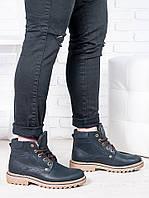Кожаные мужские ботинки на толстой подошве