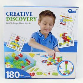 Детская Развивающая Мозаика Qml 180 вкладышей + отвертка + болты  (M7C)