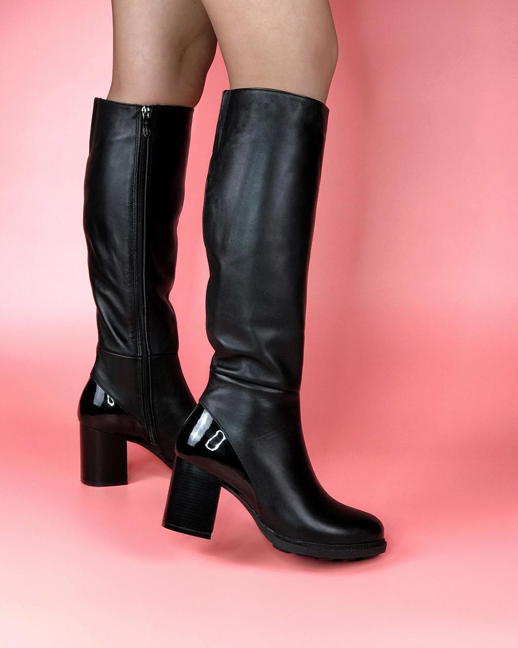 Сапоги женские кожаные черные с лаковыми вставками MORENTO зима