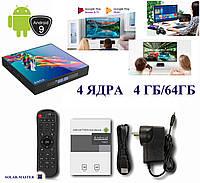 Смарт TV приставка 4 ЯДРА 4ГБ/64ГБ Андроид 9 мини компьютер, фото 1