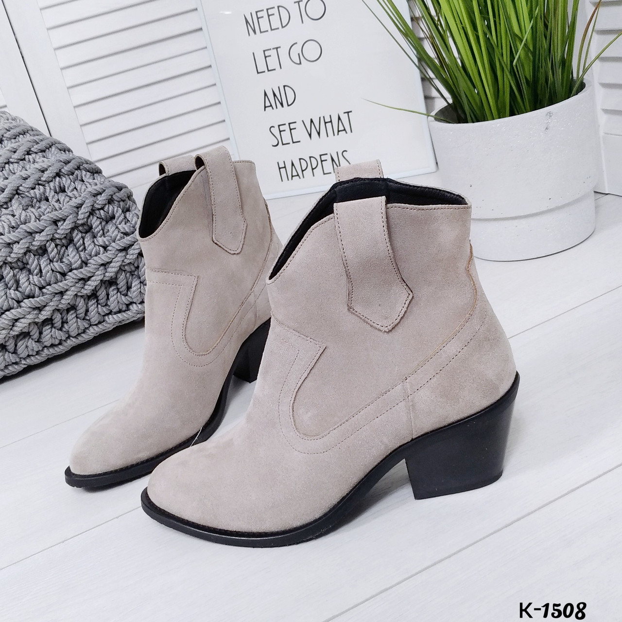 Женские демисезонные ботинки казаки серого цвета, натуральная замша (в наличии и под заказ 7-16дней)