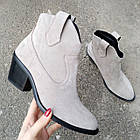 Женские демисезонные ботинки казаки серого цвета, натуральная замша (в наличии и под заказ 7-16дней), фото 4