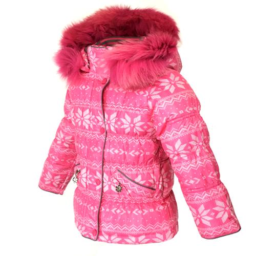 Детский зимний комбинезон для девочки, розовый, натуральный мех от Donilo 2548, | размеры 86-104р.