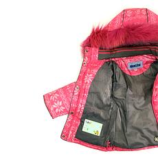 Детский зимний комбинезон для девочки, розовый, натуральный мех от Donilo 2548, | размеры 86-104р., фото 3