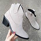 Женские зимние ботинки казаки серого цвета, натуральная замша(в наличии и под заказ 7-16дней), фото 4
