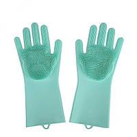 🔝 Перчатки силиконовые для мытья посуды хозяйственные для кухни Magic Silicone Gloves Голубые, фото 1