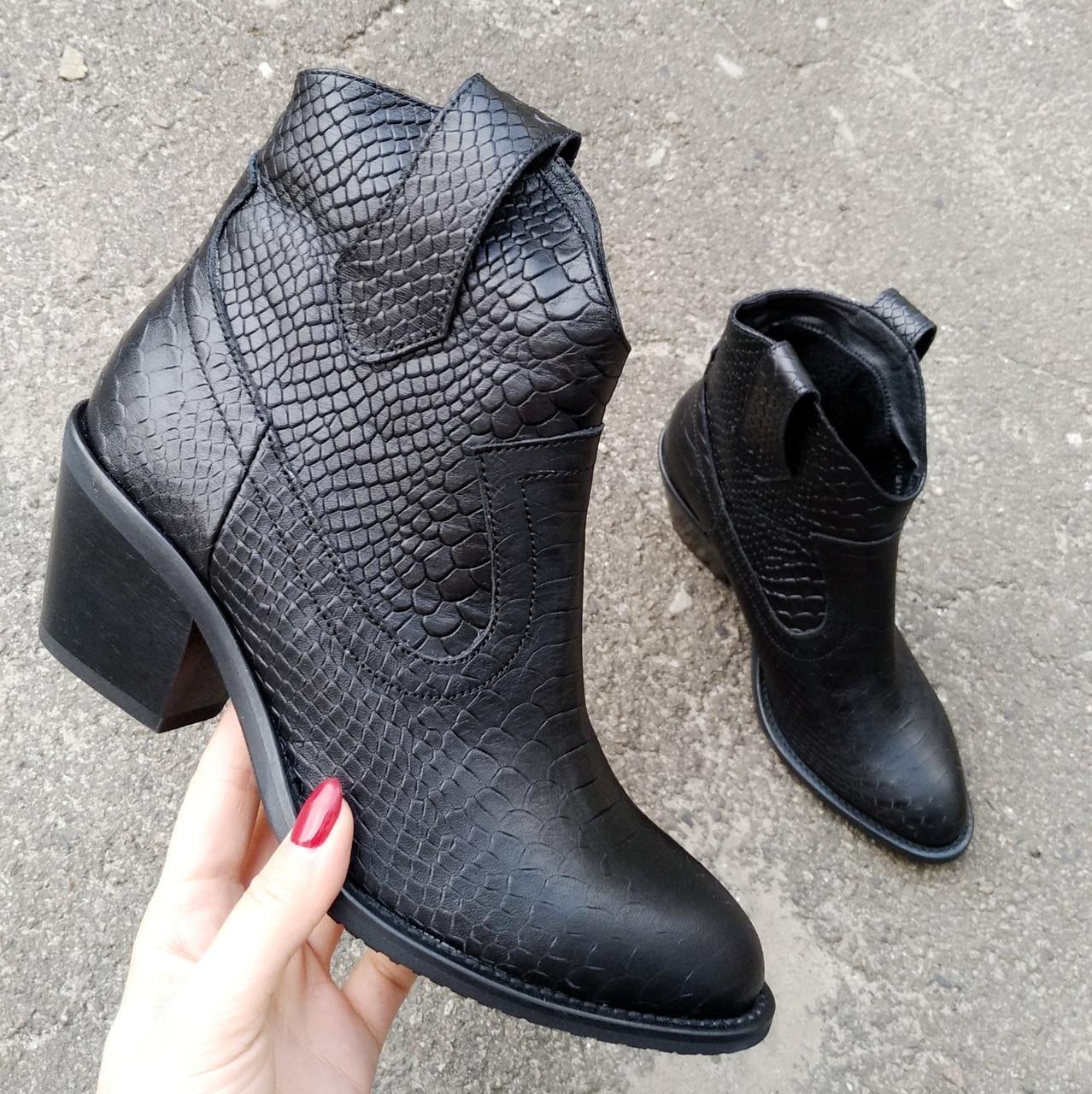 Женские зимние ботинки казаки черного цвета, натуральная кожа(в наличии и под заказ 7-16дней)