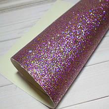 Глиттер с блестками-звездочками на тканевой основе , 30 х 20 см, цвет микс золотисто-малиновый