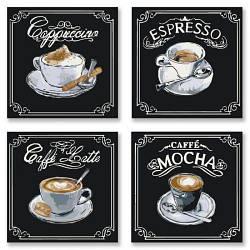 """Картина по номерам """"Полиптих: Вкусное кофе"""""""