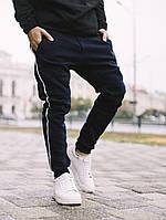Спортивные штаны с лампасами мужские зимние теплые на флисе синие, фото 1