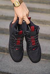 Кроссовки - 😜 Мужские форсы NIKE зимние черные с красными шнурками