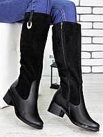 Высокие кожаные женские сапоги
