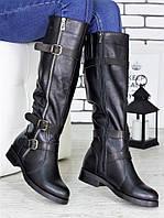 Кожаные женские ботфорты