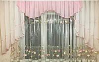 Розово-белый ламбрекен из шифона 2.50 метра