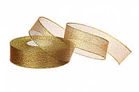 Упаковочная лента парча, 2,5см, 23м, золото