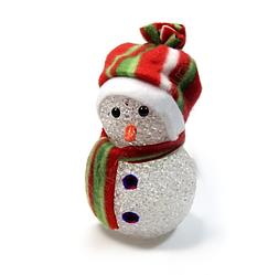 Снеговик светящийся с RGB LED-огоньком на батарейках, 14см