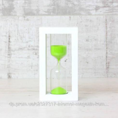 Часы песочные 4-30, 5 мин, белый-салатовый песок 17 см