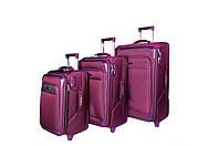 Тканевые дорожные чемоданы фиолетовые  three birds