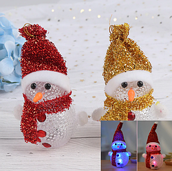 Снеговик светящийся с RGB LED-огоньком на батарейках, 12см