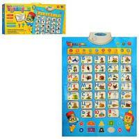 Музыкальный развивающий плакат 7031UA обучающий 7 режимов алфавит, цифры, слова, цвета, стихи, игры