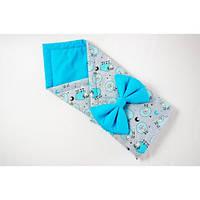 Демисезонный конверт-одеяло на выписку BabySoon Бирюзовые барашки