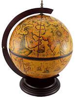 Глобус бар настольный коричневый 42002R на круглом пьедестале