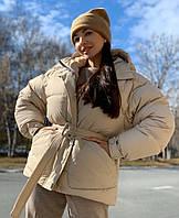 Женская зимняя куртка с капюшоном батальная