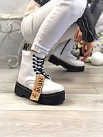 Зимние женские ботинки Dr Martens Jadon 2 белые / ботинки женские зимние