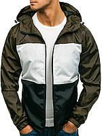 Куртка ветровка мужская весенняя (Размеры М ). Стильная мужская ветровка зеленая (хаки)