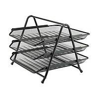 Лоток для бумаги горизонтальный, Axent металлическая сетка 3-ярусный 2122-A_Серебро