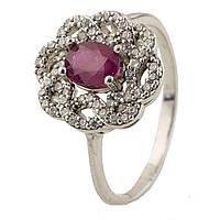 Серебряное кольцо ShineSilver с натуральным рубином (0218625) 19 размер