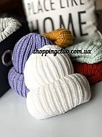Женская шапка зимняя с двойным отворотом белая шерсть/акрил