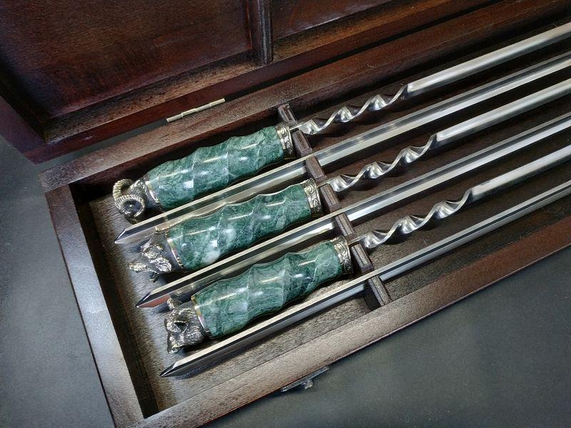 """Набор шампуров c мраморными ручками """"Imperium"""" (6шт, 3мм) в кейсе из бука. Шампуры для шашлыка из камня."""