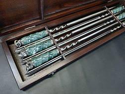 """Набор шампуров c мраморными ручками """"Imperium"""" (6шт, 3мм) в кейсе из бука. Шампуры для шашлыка из камня., фото 2"""
