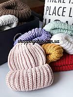 Женская шапка зимняя с двойным отворотом пудра шерсть/акрил
