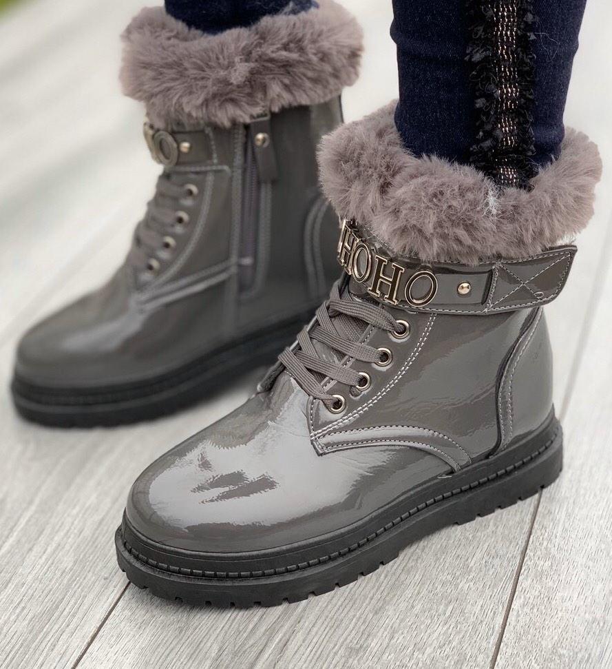 Ботинки женские зимние 8 пар в ящике серого цвета 36-41