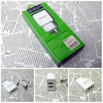 Сетевое ЗУ Grand GH-C01 на 2 USB (2.1A) + кабель Type-C